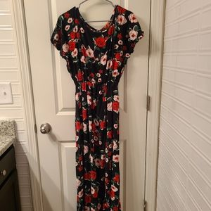 Modcloth Red & Black Floral Maxi Dress Small